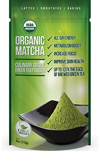 Matcha Green Tea Powder - ORGANIC - All Day Energy - Green Tea Lattes - Smoothies - Baking - Superior Antioxidant Content - Improved Hair & Skin Health - Now From Japan!