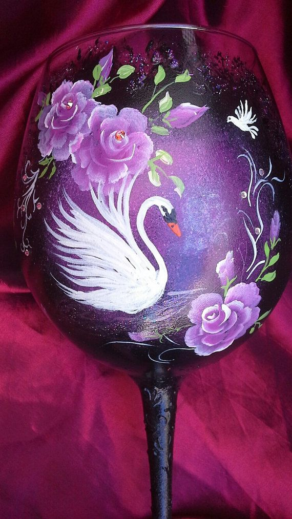 Hand painted wine glass with swan hand painted goblet by Aligri
