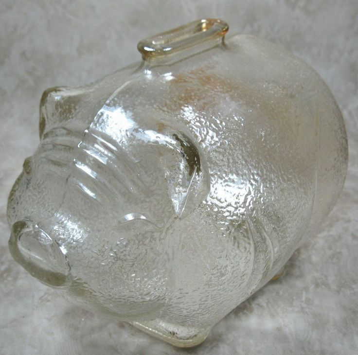 Anchor Hocking Large Piggy Bank Textured Amber Glass USA #AnchorHocking