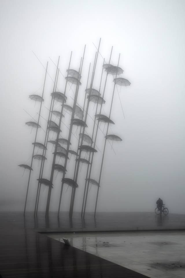 #Thessaloniki - Cycling at the New pedestrians Coastline on a foggy day... ( Tommy's Portfolios T.O Photography )