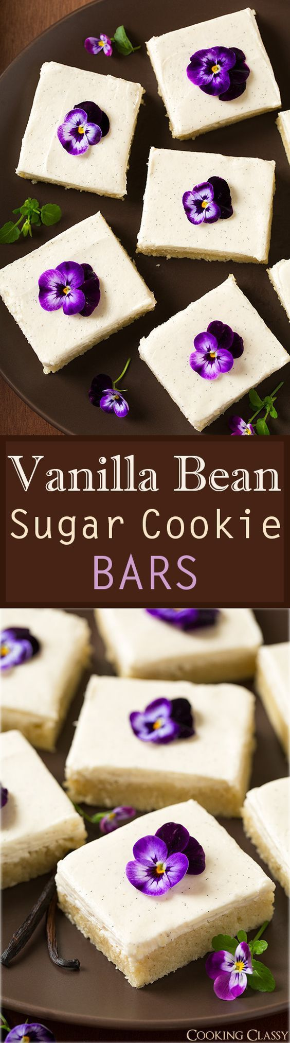 Vanilla Bean Sugar Cookie Dessert Bars with Vanilla Bean Frosting aka Very Vanilla Sugar Cookie Bars Recipe via Cooking Classy - these melt in your mouth! My new favorite sugar cookie bar!