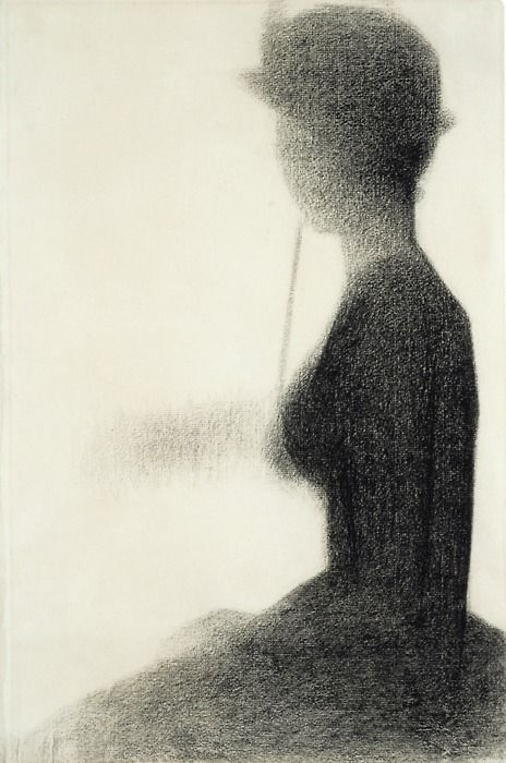 """Seated Woman with a Parasolstudy for A Sunday on La Grande Jatte, c. 1884-85 Conte crayon on paper 183/4 x 123/8"""" (47.7 x 31.5cm) The Art Institute of Chicago. Bequest of Abby Aldrich Rockefeller, 1999.7  Georges Seurat    Woman Walking with a Parasol"""