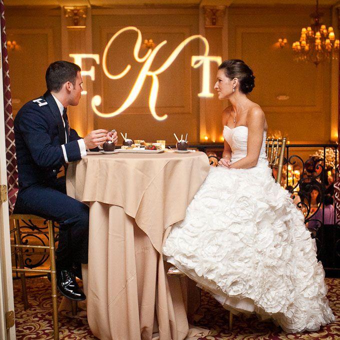 Cream tablecloth for wedding reception sweetheart table (Rachel Pearlman Photography)