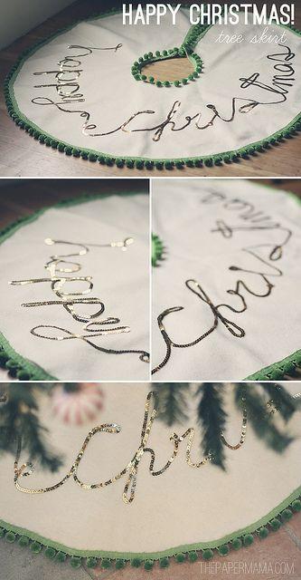 Happy Christmas Tree Skirt #DIY