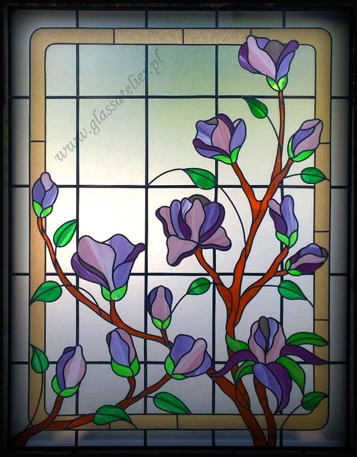 www.polandhandmad... #polandhandmade, #witraz #overlay#okno- lawendowo-magnoliowo