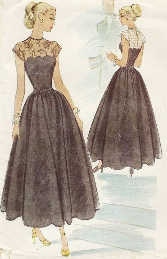 Vintage 1940s Fitted Sheer Lace Top Evening Gown Dress with Full Skirt Pattern - McCall 7228