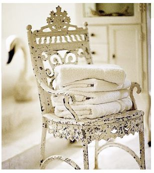 old white chair, crisp new towels-Oh, the chippiness of it!