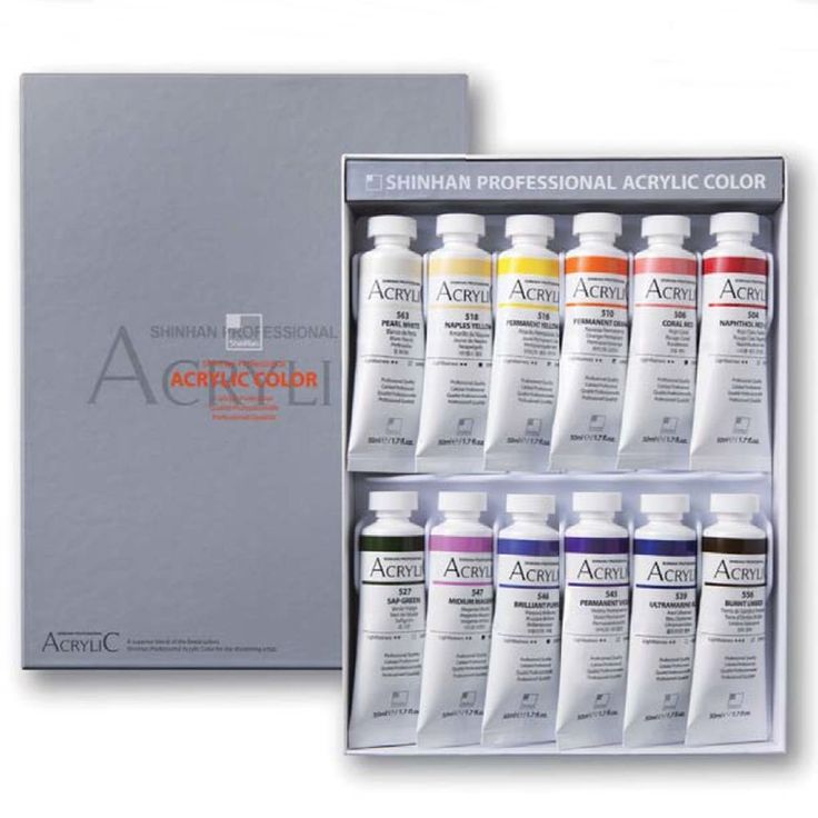 Acrylic Color Paint Shinhan Professional B 12 Colors 50ml Tube, Artist Drawing #Shinhan