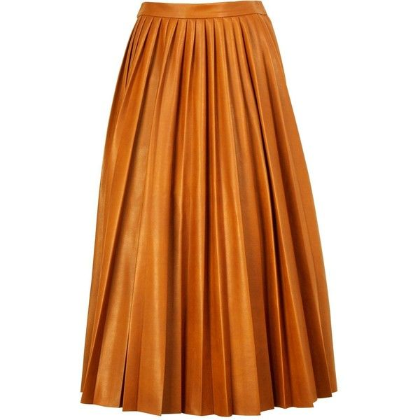 By Malene Birger Asla Pleated Leather Look Skirt (28,145 INR) ❤ liked on Polyvore featuring skirts, tan, by malene birger, pleated mid length skirt, orange pleated skirt, pleated skirt and faux leather skirt