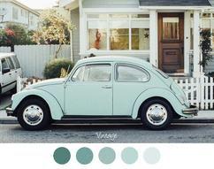 VINTAGE - Mooie oude VW in mint groen. Kever - mint groene tinten.