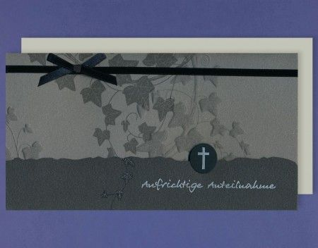 Trauer Grußkarte mit Umschlag Efeublätter Kranz Schleife 10x21cm