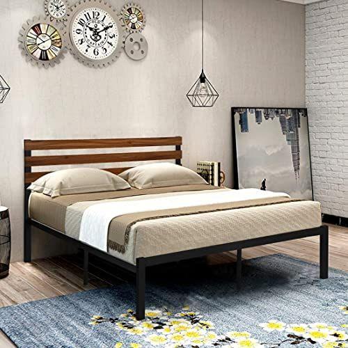 The Greenforest Queen Bed Frame Metal Studio Platform Bed Wood