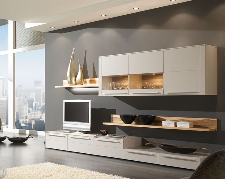 Modern Bellano Wall Storage Unit with Low Sideboard, Cabinets and Shelves