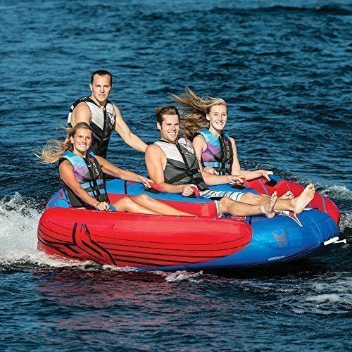 Towable Water Tube Large 4 Person Inflatable Boat Jet