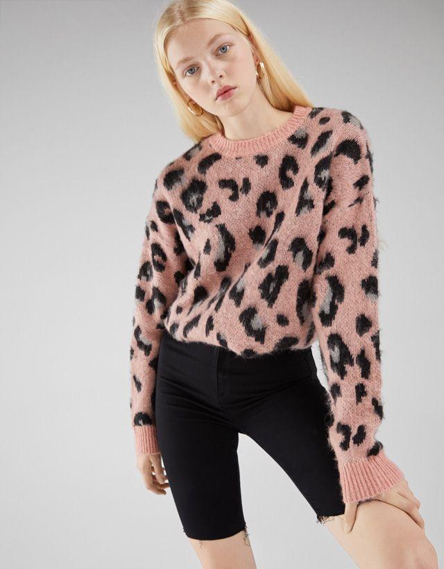 Tricolored chenille sweater - New - Bershka United States  359f68bfd