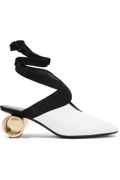 Gold heel measures approximately 55mm/ 2 inches White leather, black suede Ties at ankle Made in ItalySmall to size. See Size & Fit notes.