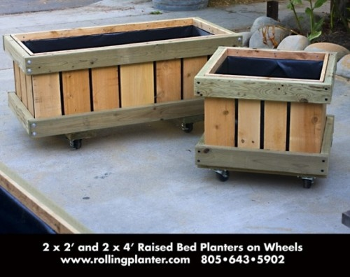 Raised Bed Planter on Wheels - looks so easy to build.