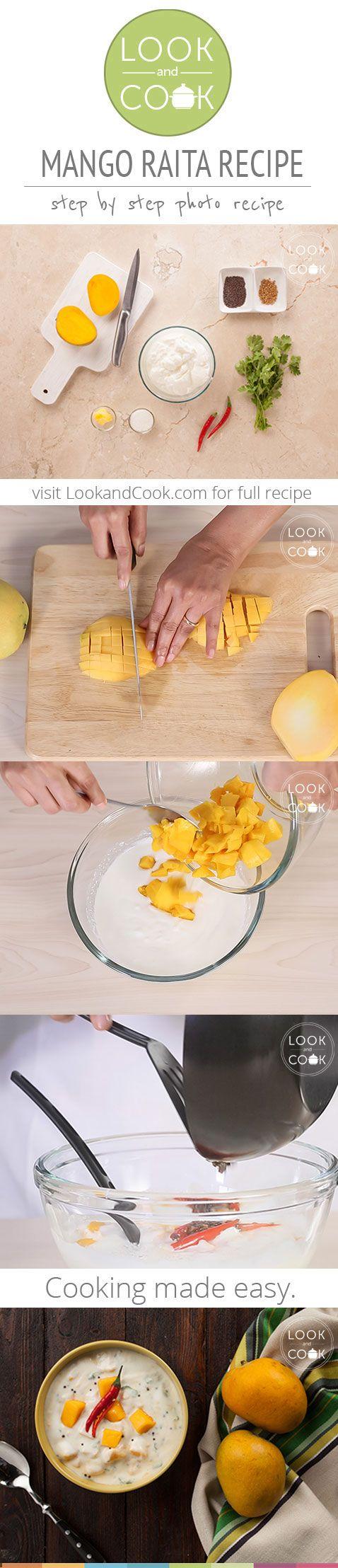 MANGO RAITA RECIPE (LC14296): Yogurt based condiment with chopped mangoes made often during the Mango season.