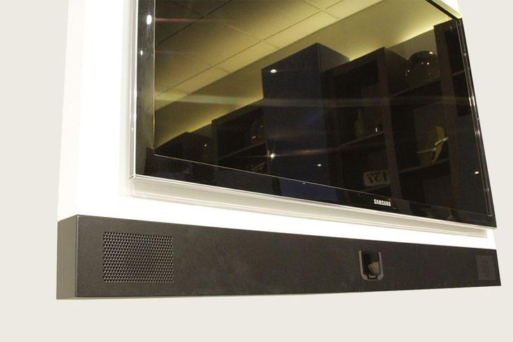 Fimarmobili Porta tv orientabile con sistema audio integrato, mobile porta tv hi fi, porta tv stereo