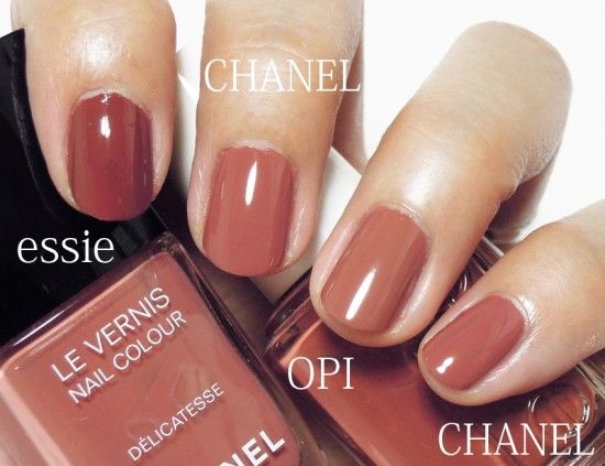 opi - chocolate moose, chanel - delicatesse, essie - very structured