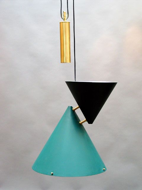 Hans Bergström; Painted Metal and Brass Ceiling Light, 1950s