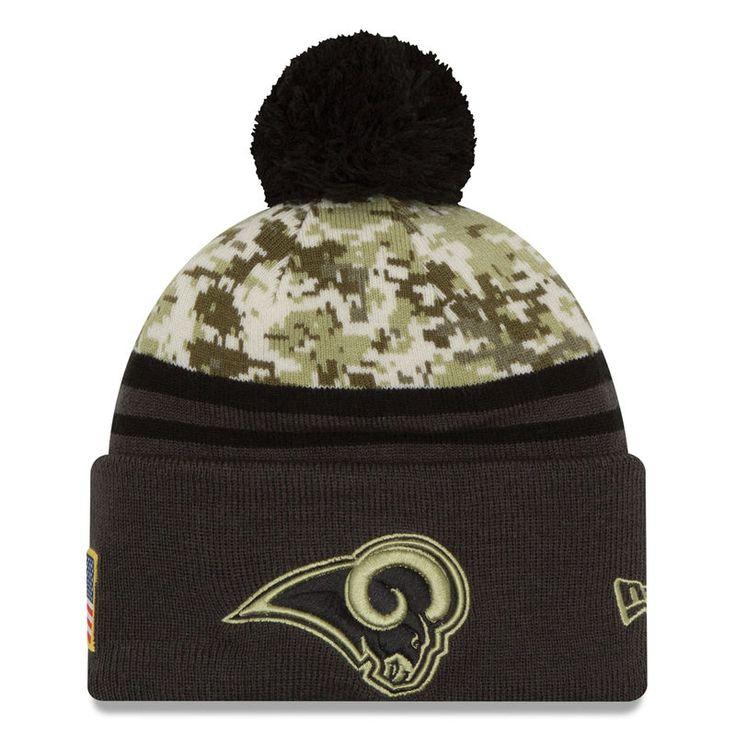 Los Angeles Rams New Era Salute To Service Sideline Pom Knit Hat - Camo/Graphite
