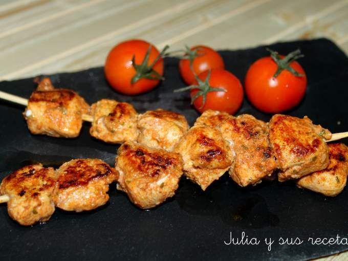 Carne - Receta Entrante : Pincho de pollo al curry por Juliaysusrecetas