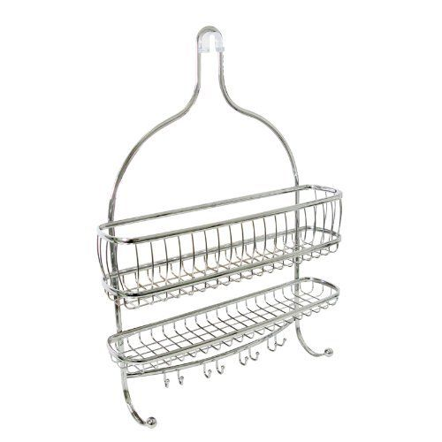 InterDesign York Lyra Jumbo Shower Caddy, Chrome by InterDesign. $29.99. Suction cups help keep caddy in place. Numerous hooks for wash cloths, loofahs and so much more. Polished chrome finish. 2 wide shelves for all your shower needs. Contemporary design. Organize your soap, shampoo and conditioner in style. Both attractive and functional this contemporary shower caddy is made of steel tubing that is rust-resistant, durable and finished off in a bright chrome finish. The wir...