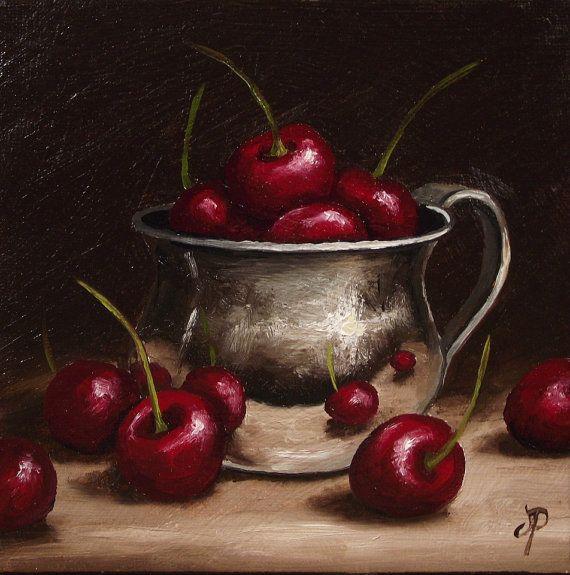 Cherries in Silver Cup Original Oil Painting by JanePalmerArt