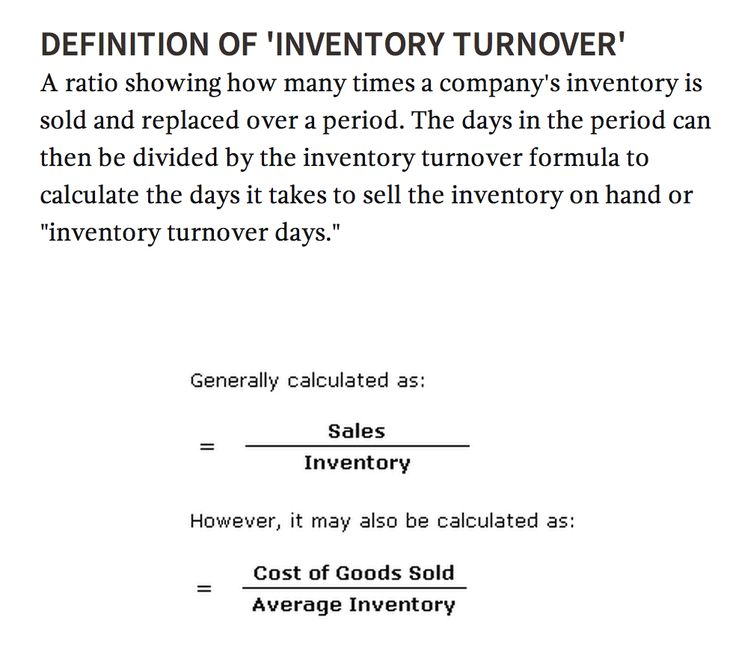 "'INVENTORY TURNOVER' A ratio showing how many times a company's inventory is sold and replaced over a period. The days in the period can then be divided by the inventory turnover formula to calculate the days it takes to sell the inventory on hand or ""inventory turnover days."""