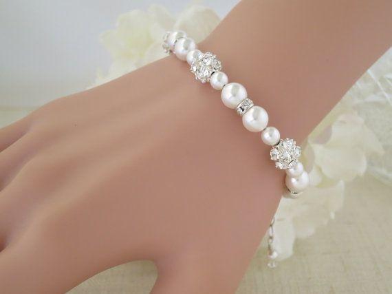 Swarovski pearl and rhinestone wedding set Pearl by BlingBaddaBoom