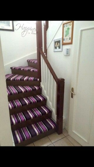Cool way to use carpet offcuts on your stairs