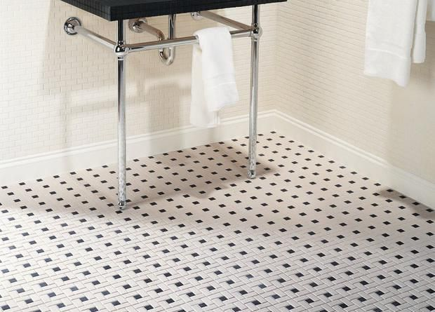 Our Current Floor   Daltile Keystones Blends X Windmill Mosaic Tile In  Biscuit/Black   For The Retro Guest Bath
