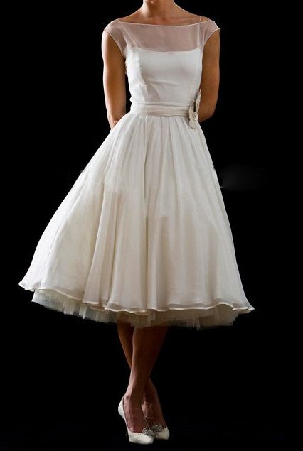 Retro Tea Length Dress - mom. there it is. perfection. don't you think? ITS EVEN OFF WHITE! (my besties) don't steal this look k? haha. this is my absolute perfect wedding dress. MY MOTHER OF THE BRIDE DRESS -ONLY IN BLACK!!!