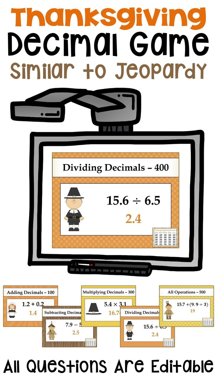 Thanksgiving Decimal Game Similar to Jeopardy Fraction