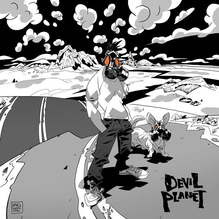 Devil Planet character TJ. facebook.com/kanggoonart facebook.com/devilplanet  #art #characterdesign #desert #drawing #inking #dog #sketch #ink #logo #devilplanet #kanggoon