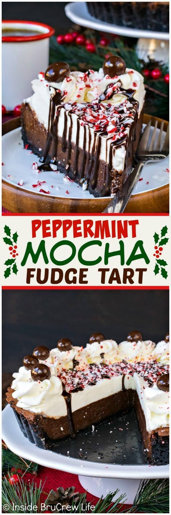 Peppermint Mocha Fudge Tart - layers of creamy chocolate and homemade whipped cream make this an impressive dessert to serve for Christmas. Easy recipe for holiday parties!