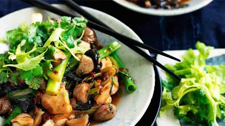 Chilli chicken with chestnuts, black funghi and celery
