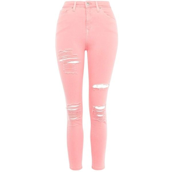 TopShop Petite Super Rip Jamie Jeans ($45) ❤ liked on Polyvore featuring jeans, pants, bottoms, topshop, coral, distressed skinny jeans, skinny jeans, ripped jeans, stretch skinny jeans and distressed jeans