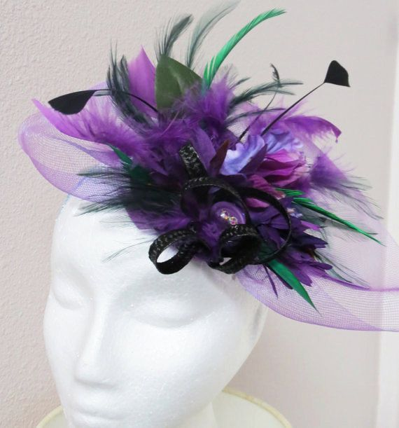 Purple fascinator ,green fascinator hat, derby hat PURPLE PEOPLE