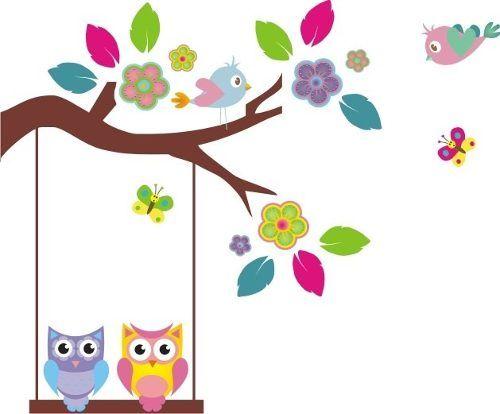 Ramas Infantiles, Vinilo Decorativo Flores, Buhos, Monos