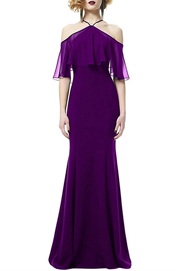 6ca58a2540 MARSEN Women s Sexy Halter Off Shoulder Formal Long Elastic Evening Party  Gown Purple Size S