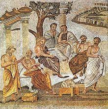 Une mosaïque trouvée à Pompéi représentant l'Académie de Platon.