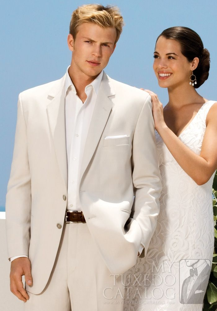 Tan Sand 'Riviera' Suit from MyTuxedoCatalog.com  This suit is the perfect beach attire for that special day.