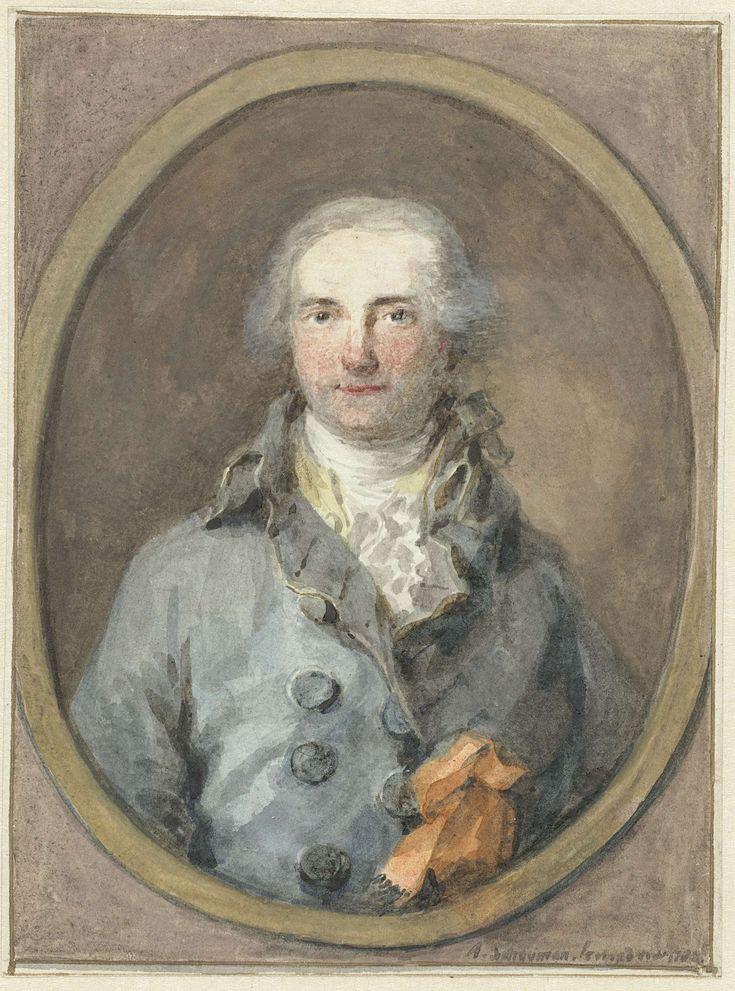 Aert Schouman | Portret van een heer in een ovaal kader, Aert Schouman, 1788 |