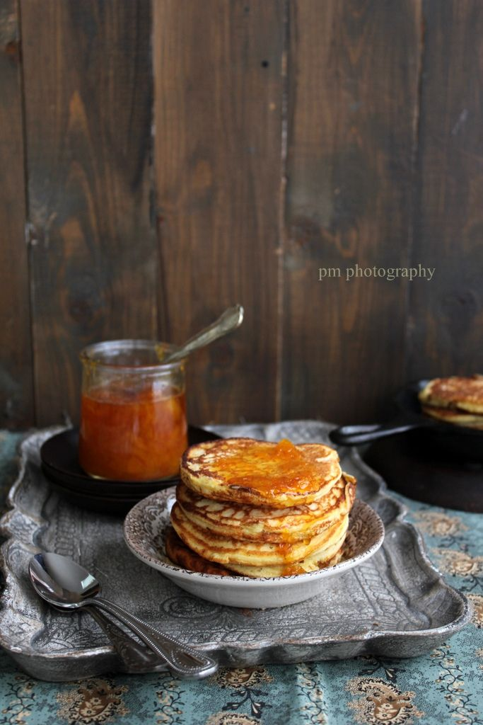 Pancakes with cottage cheese & grapefruit marmalade syrup beer & honey