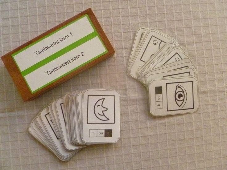 Dit kwartetspel is gemaakt speciaal voor het eerste leerjaar. Het is eigenlijk geen echte 'kwartet', want de leerlingen moeten 3 kaarten verzamelen (kop, buik, staart). Ze spelen dit spel best met drie of meer  spelers. In dit spel oefenen ze de geleerde letters en woorden in.