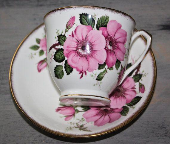 Salisbury Wild Rose Teacup Bone China by FragrantLavenderHome