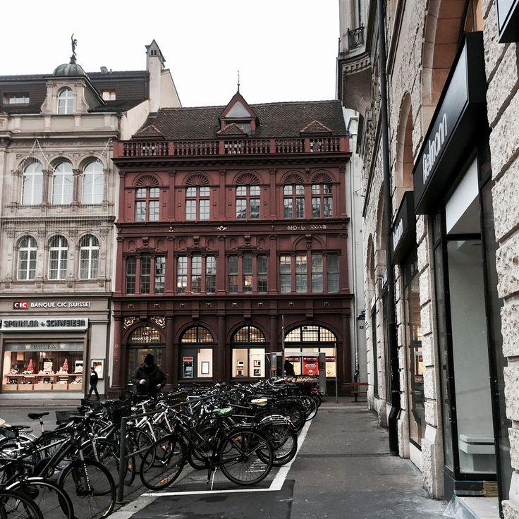 basel switzerland europe winter architecture grandeur facades street view marketplace marktplatz