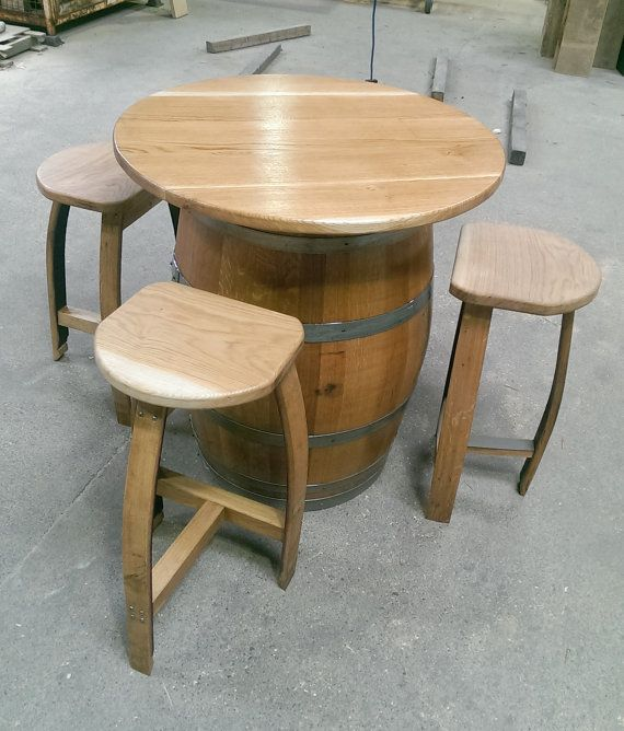 Ex Wine Oak Barrel With Solid Oak Table Top. Four By CelticTimber